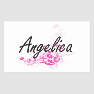 Angelica Artistic Name Design with Flowers Rectangular Sticker