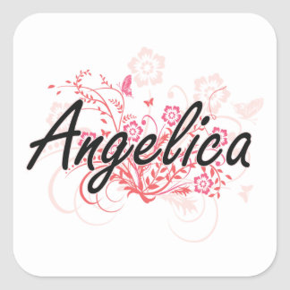 Angelica Artistic Name Design with Flowers Square Sticker