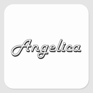 Angelica Classic Retro Name Design Square Sticker