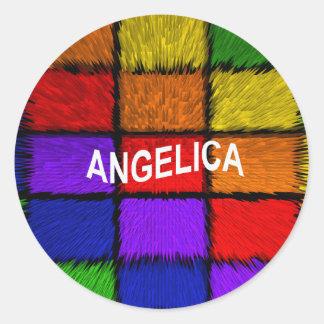 ANGELICA ( FEMALE NAMES ) ROUND STICKER