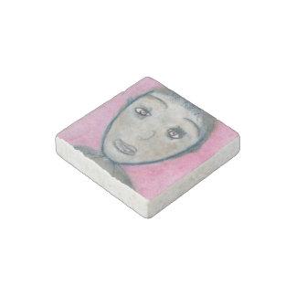 Angelina, Stone Magnet, Chalk Drawing Black Pink Stone Magnet