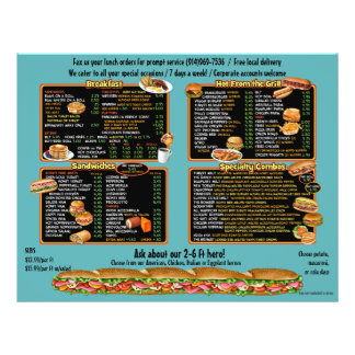 Angelina's Deli -  custom takeout menu 21.5 Cm X 28 Cm Flyer