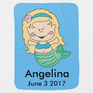 Angelina's Personalized Mermaid Swaddle Blankets