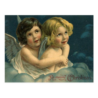 Angels A Merry Christmas Vintage Postcard