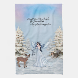 Angels are Everywhere Winter Scene Kitchen Towel