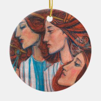 Angels Art Nouveu motif, redhaired girls fine art Christmas Ornament