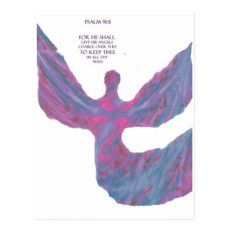 Angels art Pastel Colors bible verse Psalm 91:11 Postcard