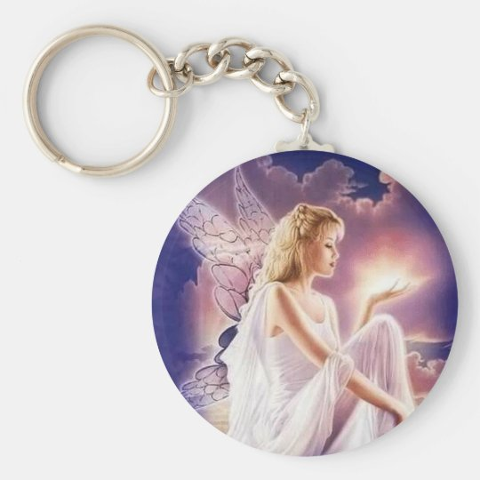 Angels Basic Round Button Key Ring
