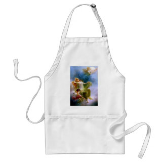 Angels children flowers stars sky painting apron