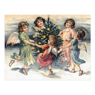 Angels dancing around the Christmas tree Postcard
