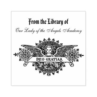 Angels Deo Gratias Personalized Latin Book Plate Rubber Stamp