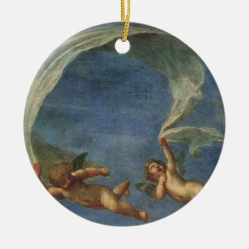 Angels Detail from Adonis Led by Cupids by Albani Christmas Ornament