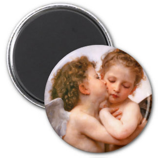 Angels First Kiss, Bouguereau 6 Cm Round Magnet