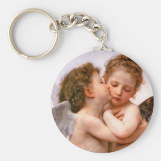 Angels First Kiss, Bouguereau Basic Round Button Key Ring