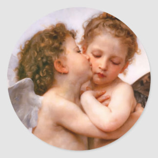 Angels First Kiss, Bouguereau Round Sticker