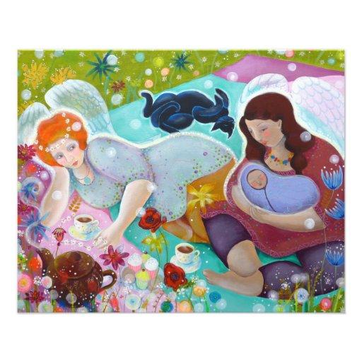 Angels Having A Cup Of Tea. Flyer Design