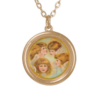 Angels In A Gold Ring Gold Plated Necklace