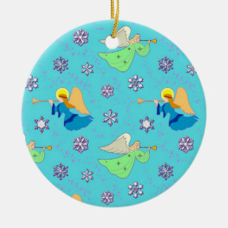 Angels in Blue – Snowflakes & Trumpets 2 sides Round Ceramic Decoration