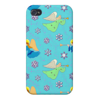 Angels in Blue – Snowflakes & Trumpets Case For iPhone 4