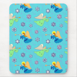 Angels in Blue – Snowflakes & Trumpets Mousepad