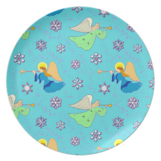 Angels in Blue – Snowflakes & Trumpets Party Plate