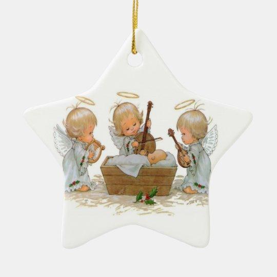Angels in Manger Ceramic Ornament
