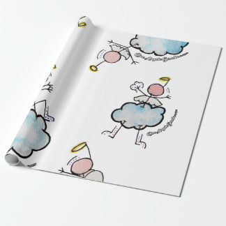 Angels in the clouds wrapping paper