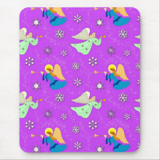 Angels in Violet - Snowflakes Trumpets Mousepad