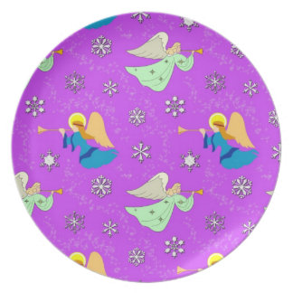 Angels in Violet - Snowflakes & Trumpets Plates