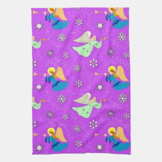 Angels in Violet - Snowflakes & Trumpets Kitchen Towel
