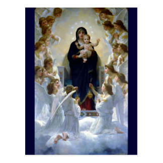 Angels madona baby christian religion clouds postcard