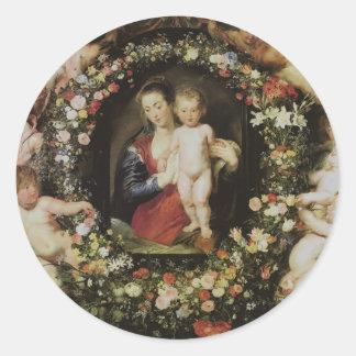 Angels, Madonna and Child, Peter Paul Rubens Round Sticker
