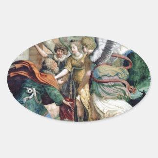 Angels Man Saving Antique Painting Oval Sticker