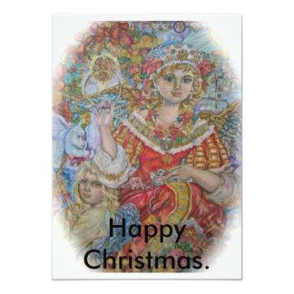 Angels of Christmas., Happy Christmas. 13 Cm X 18 Cm Invitation Card
