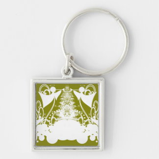 Angels on Green Silver-Colored Square Key Ring
