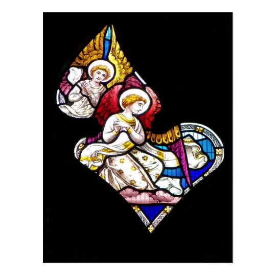 ANGELS STAINED GLASS WINDOW POSTCARD