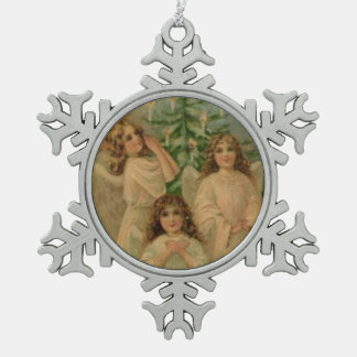Angels Vintage Victorian Art Snowflake Ornament