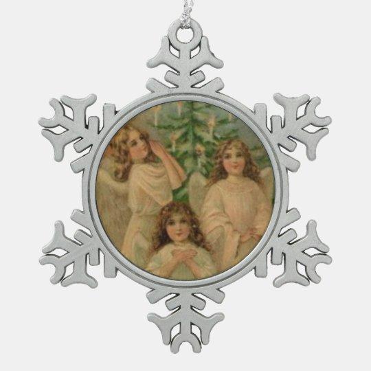Angels Vintage Victorian Art Snowflake Ornament