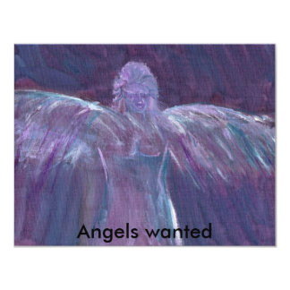 ANGELS WANTED 11 CM X 14 CM INVITATION CARD