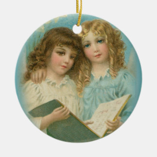 Angels with Book Ceramic Keepsake Art Ornament