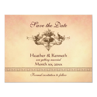 Angels with Trumpets, Save the Date 4.25x5.5 Paper Invitation Card