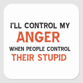 Anger management designs square sticker