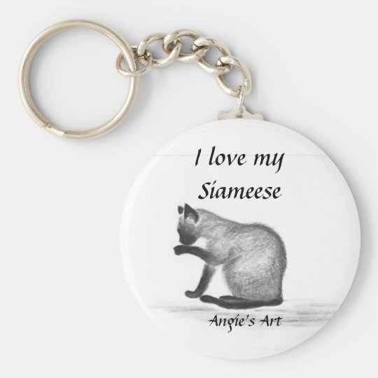 """Angie's Art """"Siameese Cat"""" Basic Round Button Key Ring"""