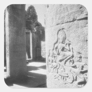 Angkor Cambodia, Apsara Carving The Bayon 2 Square Sticker