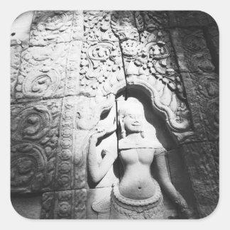 Angkor Cambodia, Apsara Carving The Bayon Square Sticker