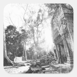 Angkor Cambodia, Details Ta Prohm Square Sticker