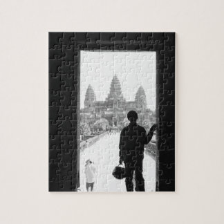 Angkor Cambodia, Doorway & Person Angkor Wat Jigsaw Puzzle
