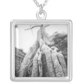 Angkor Cambodia, Tree Ta Prohm Silver Plated Necklace