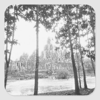 Angkor Cambodia, View of the Bayon Square Sticker