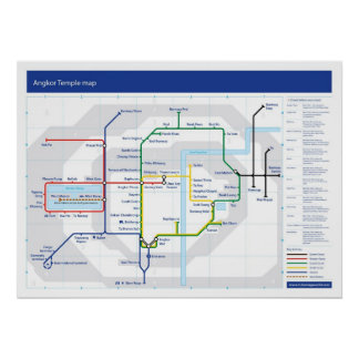 Angkor Temple tube map Poster